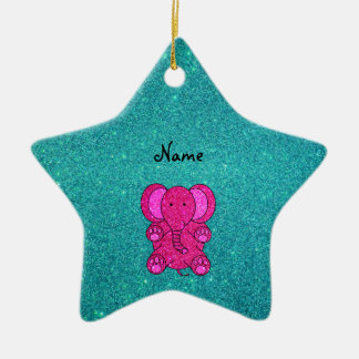 Personalized name pink elephant turquoise glitter christmas ornament