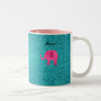 Personalized name pink elephant turquoise glitter Two-Tone coffee mug
