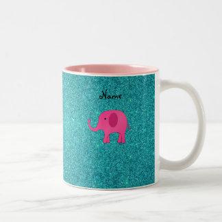 Personalized name pink elephant turquoise glitter coffee mug