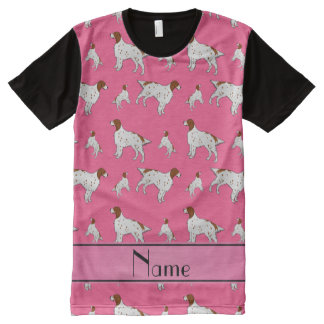 Personalized name pink English Setter All-Over Print T-Shirt