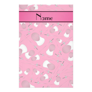 Personalized name pink fencing pattern stationery