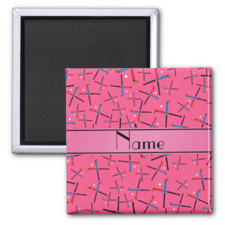 Personalized name pink field hockey pattern refrigerator magnet