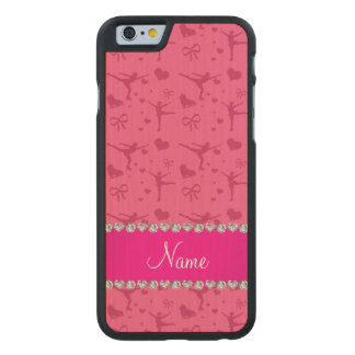Personalized name pink figure skating carved® maple iPhone 6 case