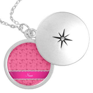 Personalized name pink figure skating locket