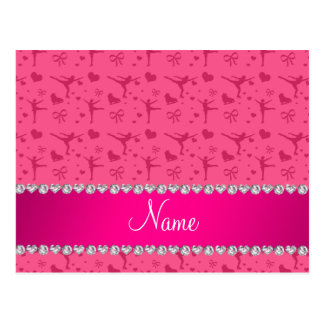 Personalized name pink figure skating post card