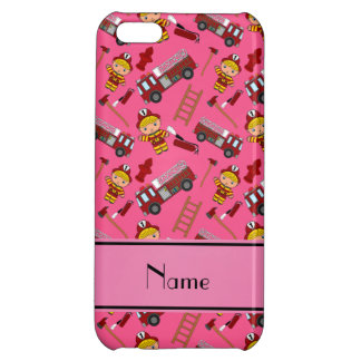 Personalized name pink firemen trucks ladders iPhone 5C case