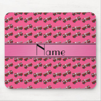 Personalized name pink firetrucks mouse pads
