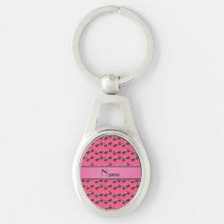 Personalized name pink firetrucks key chain