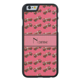 Personalized name pink firetrucks carved® maple iPhone 6 case