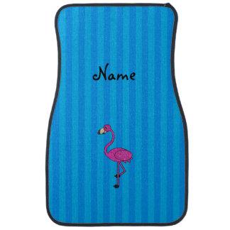 Personalized name pink flamingo blue stripes car mat