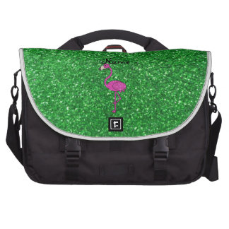 Personalized name pink flamingo green glitter laptop messenger bag