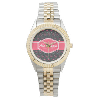 Personalized Name Pink Flamingo Pattern Watches