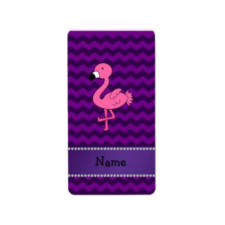 Personalized name pink flamingo purple chevrons address label