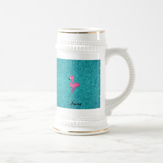 Personalized name pink flamingo turquoise glitter beer stein