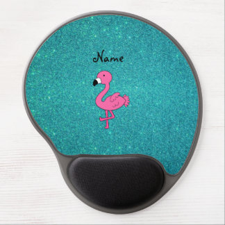 Personalized name pink flamingo turquoise glitter gel mouse mat