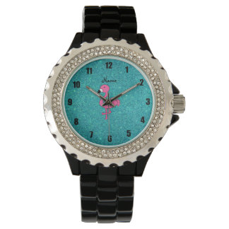 Personalized name pink flamingo turquoise glitter watch