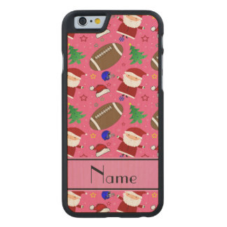 Personalized name pink football christmas carved® maple iPhone 6 case