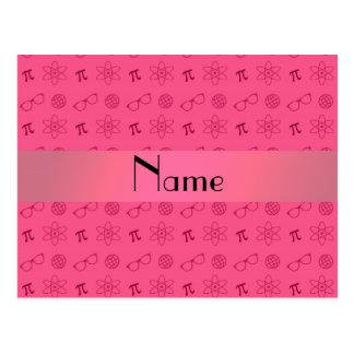 Personalized name pink geek pattern postcard
