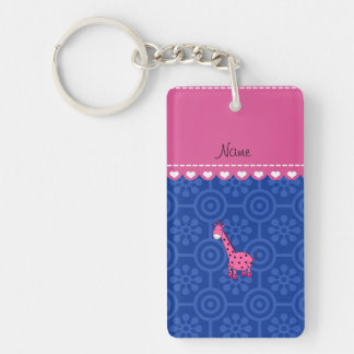Personalized name pink giraffe blue retro flowers Double-Sided rectangular acrylic key ring