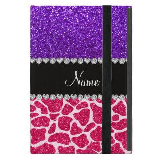 Personalized name pink giraffe purple glitter cover for iPad mini
