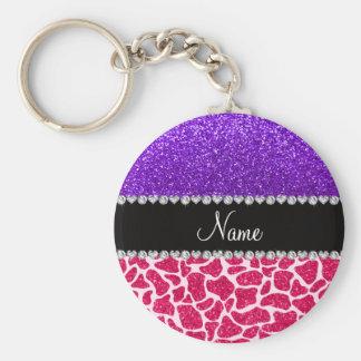Personalized name pink giraffe purple glitter key ring
