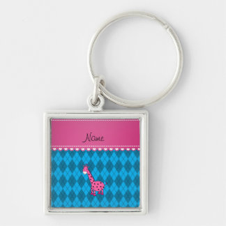 Personalized name pink giraffe sky blue argyle Silver-Colored square key ring