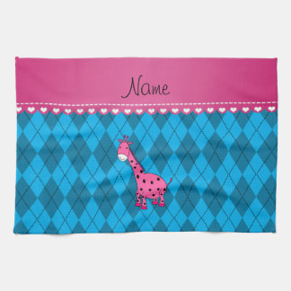 Personalized name pink giraffe sky blue argyle tea towel