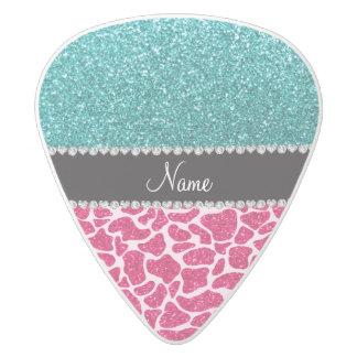 Personalized name pink giraffe turquoise glitter white delrin guitar pick