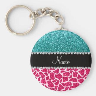Personalized name pink giraffe turquoise glitter key ring