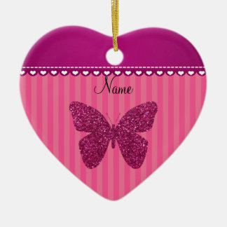 Personalized name pink glitter butterfly ceramic heart decoration
