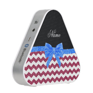 Personalized name pink glitter chevrons blue bow