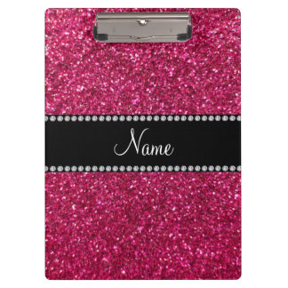 Personalized name pink glitter clipboard