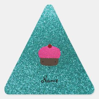 Personalized name pink glitter cupcake triangle sticker