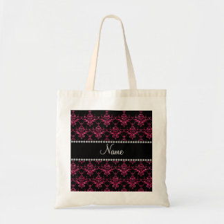 Personalized name pink glitter damask canvas bags