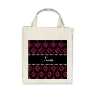 Personalized name pink glitter damask bag