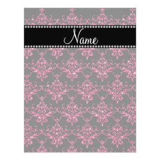 Personalized name pink glitter damask flyer design