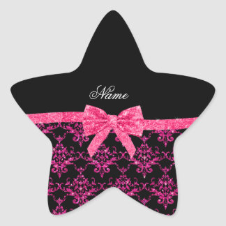 Personalized name pink glitter damask pink bow stickers