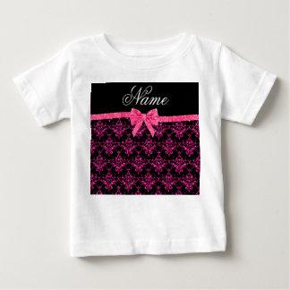 Personalized name pink glitter damask pink bow t shirts