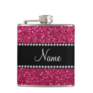 Personalized name pink glitter hip flask