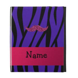 Personalized name pink glitter mustahce iPad folio case