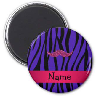 Personalized name pink glitter mustahce fridge magnets