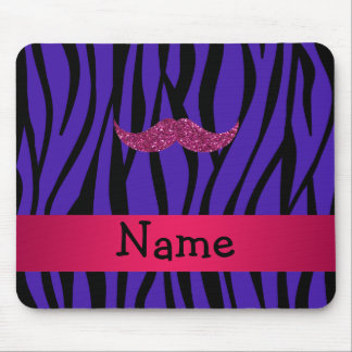 Personalized name pink glitter mustahce mouse pads