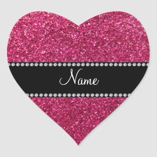 Personalized name pink glitter heart sticker