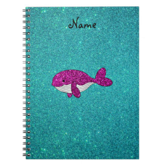 Personalized name pink glitter whale turquoise notebooks