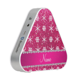 Personalized name pink glitter white snowflakes speaker