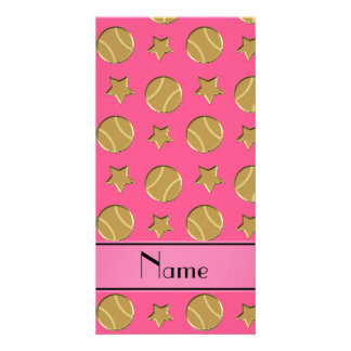 Personalized name pink gold baseballs stars photo card