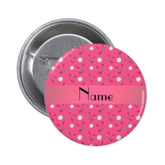 Personalized name pink golf balls 6 cm round badge