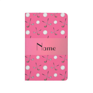 Personalized name pink golf balls journal