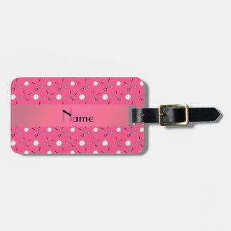 Personalized name pink golf balls luggage tag