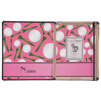 Personalized name pink golf balls tees covers for iPad